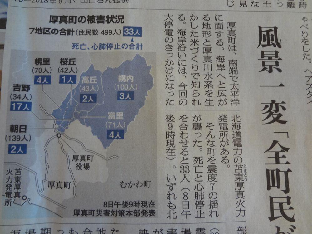 9月6日未明、北海道で地震
